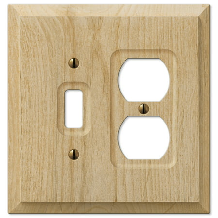 Amerelle 180TD Traditional Wood Toggle Duplex Wallplate, Unfinished