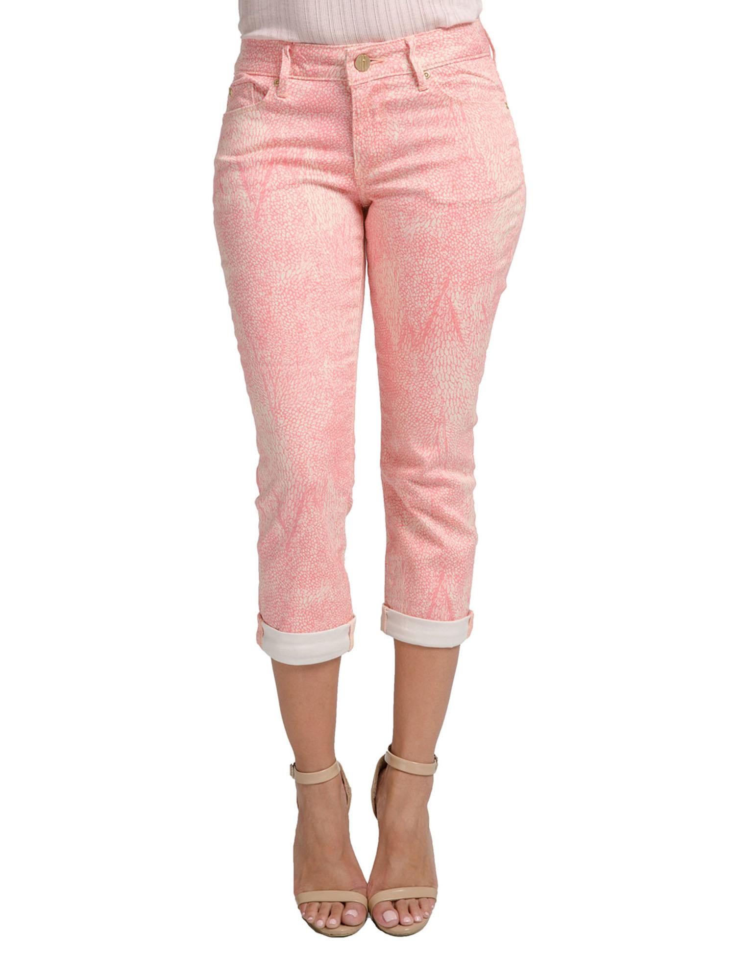 Miss Halladay women's Light Plum Stretch Twill Capri Pants Cuffed Hem Tree Skin Print