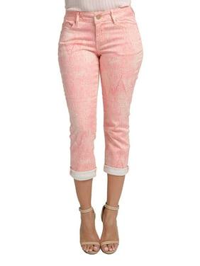 0b61f2d56fc660 Product Image miss halladay women's light plum stretch twill tree skin  print capri 5 pocket pants cuffed hem
