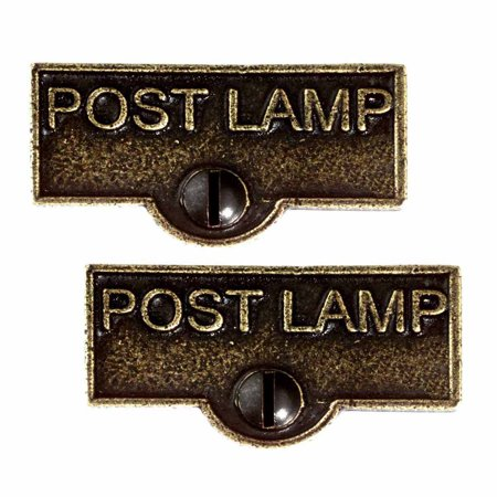 2 Switch Plate Tags POST LAMP Name Signs Labels Cast Brass