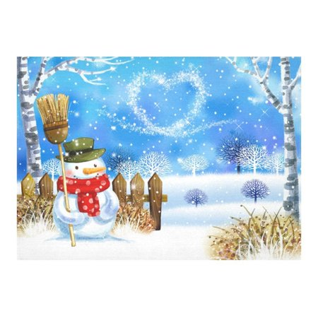 MYPOP Fashionable Christmas Snowman Snowflake Cotton Linen Tablecloth Set 60x84 Inches - Winter Snow Desk Table Cloth Cover for Holiday Party Decoration ()