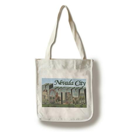 Nevada City, Montana - Large Letter Scenes (100% Cotton Tote Bag - Reusable)](Nevada City Montana Halloween)