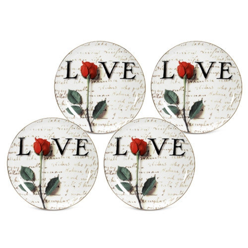 PS Collection Love Letters 8'' Dessert / Salad Plate (Set of 4)