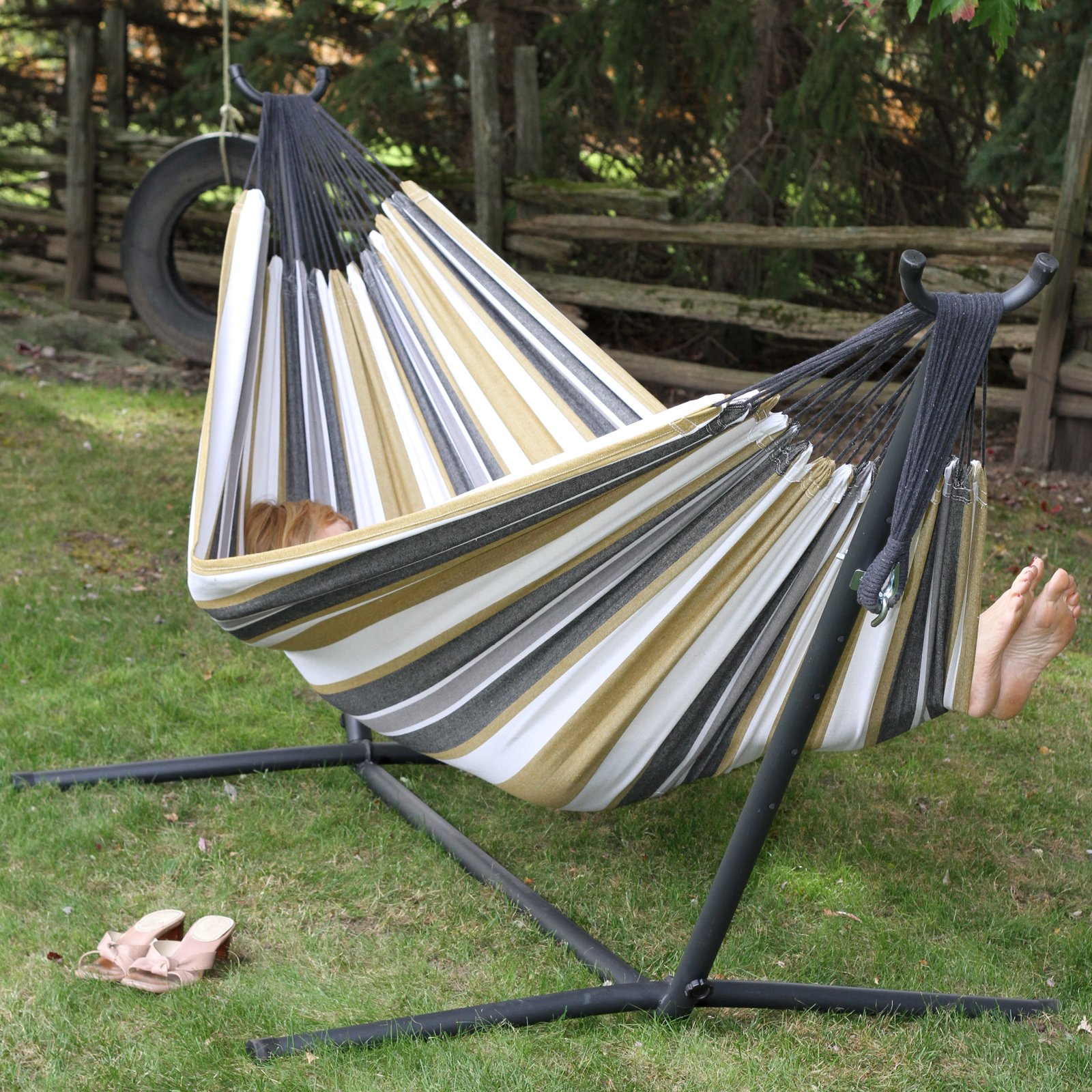 Vivere's Double Denim Hammock Combo with 9ft Stand by Overstock