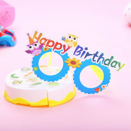 12 Pcs/lot Funny Cartoon Paper Glasses Kids Gift Photo Booth Props Halloween Christmas Party Decoration Style:Birthday
