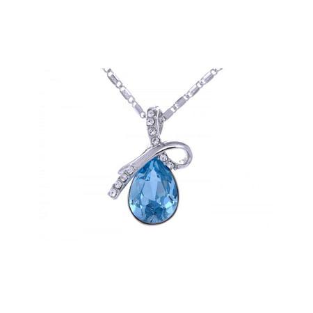 Crystal Elements Aquamarine Tone Rhinestone Bow Inspired Necklace