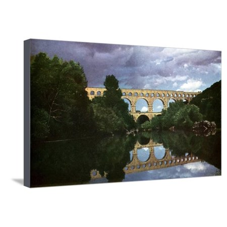 Aqueduct Postcard (Pont Du Gard, Roman Aqueduct, Nimes, France Stretched Canvas Print Wall Art )