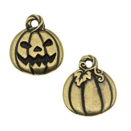 Pumpkin Jack (Brass Oxide Finish Lead-Free Charm Jack O' Lantern Pumpkin Halloween 18mm)