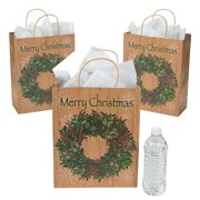Fun Express - Large Holiday Wreath Craft Bag for Christmas - Party Supplies - Bags - Paper Gift W & Handles - Christmas - 12 Pieces