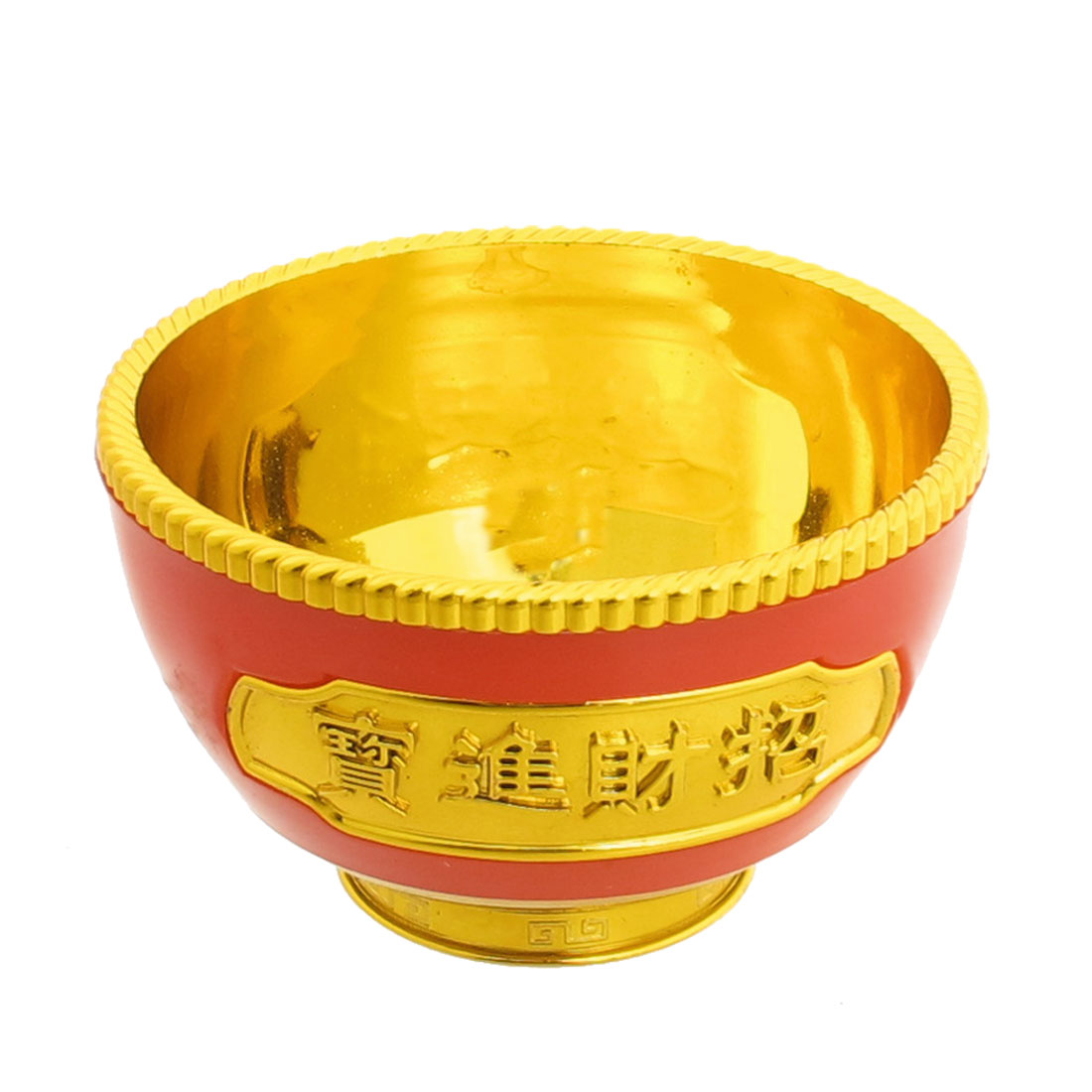 Round Base Plastic Gold Tone Red Bowl Gold Tone Red
