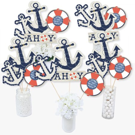 Ahoy - Nautical - Baby Shower or Birthday Party Centerpiece Sticks - Table Toppers - Set of 15](Nautical Centerpieces For Baby Shower)