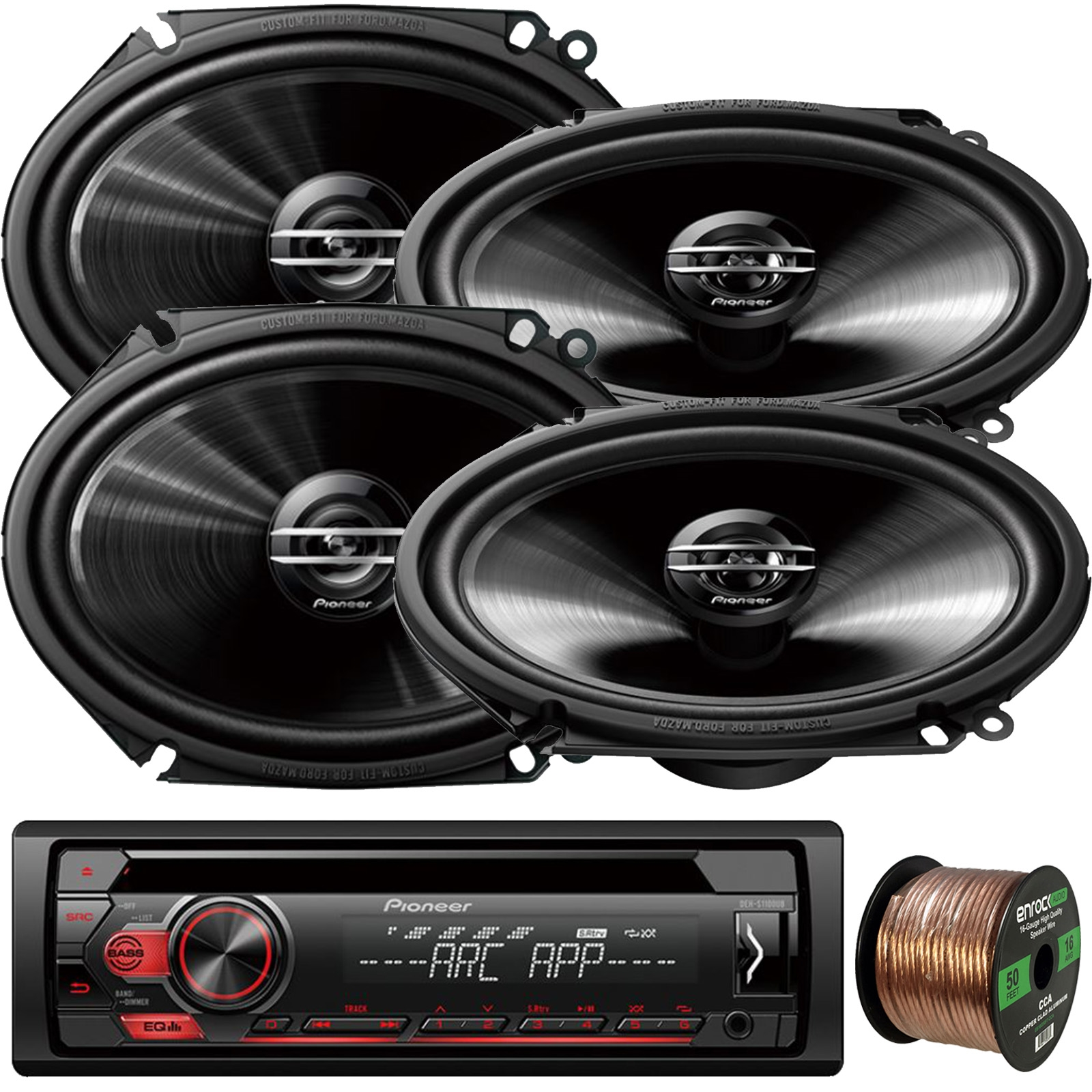 "Pioneer DEH-S1100UB Single-DIN CD Player AM/FM Car Stereo Receiver, 4 x Pioneer G-Series Car Audio 6x8"" 250W 2-Way Car Speakers, Enrock Audio 16-Gauge 50Ft. CCA Speaker Wire"