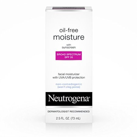 Neutrogena Oil-Free Daily Facial Moisturizer With Broad Spectrum SPF 35 Sunscreen, Dermatologist Recommended, Fragrance-Free, Non Comedogenic and Hypoallergenic 2.5 fl.