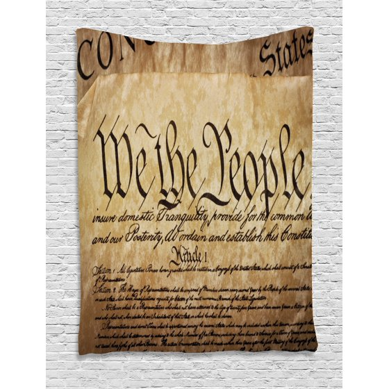 United States Tapestry, Vintage Constitution Text of America ...