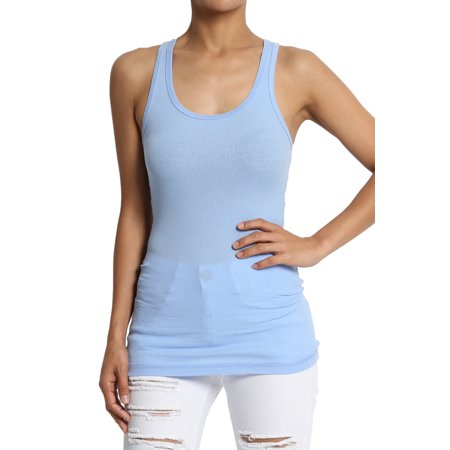 - TheMogan Women's S~3XL Stretchy Ribbed Knit Fitted Racerback Tank Top Cotton Spandex