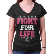 Breast Cancer Awareness Shirt | Fight for Life Pray Cure Pink Junior V-Neck Tee