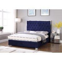 Best Master Furniture Natasha Eastern King Velvet Platform Bed, Blue