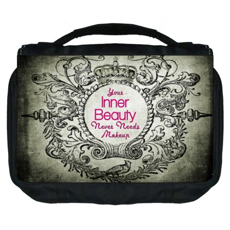 Small Travel Toiletry / Cosmetic Case with 3 Compartments and Detachable Hanger Your Inner Beauty Never Needs Makeup on Vintage Grunge Print - Nerd Makeup