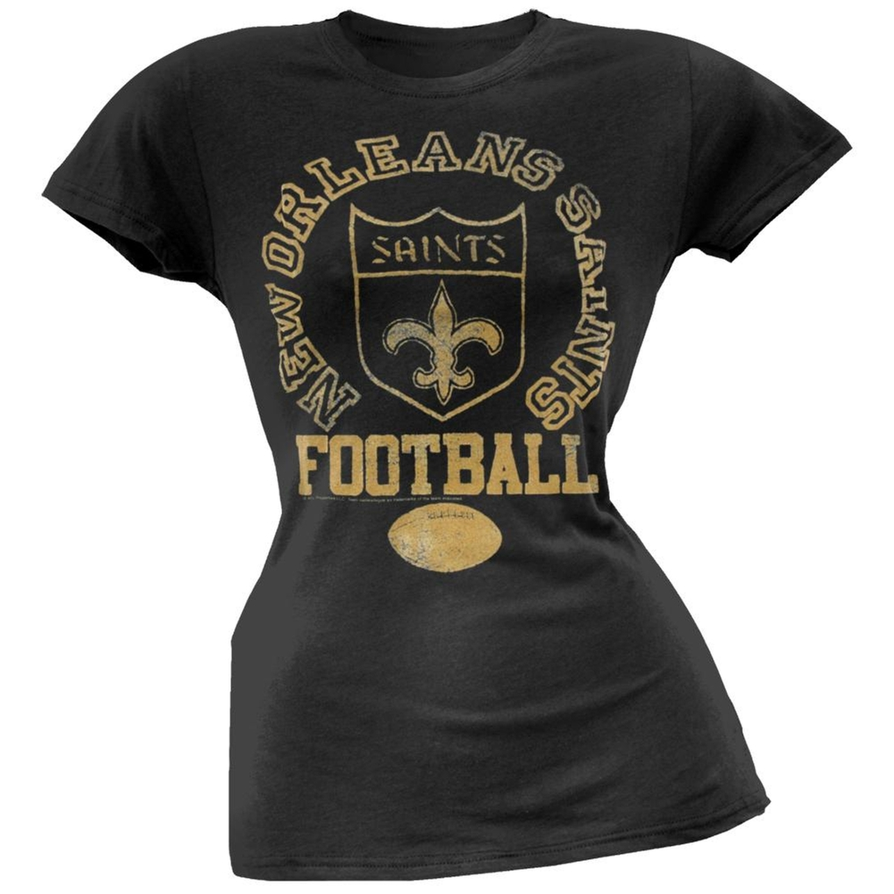 New Orleans Saints - Vintage Flock Logo Juniors T-Shirt