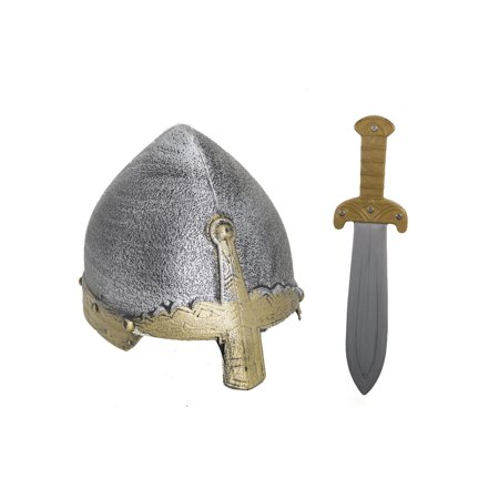 Child Medieval Viking Crusader Knight Helmet And Medieval Dagger Costume Props