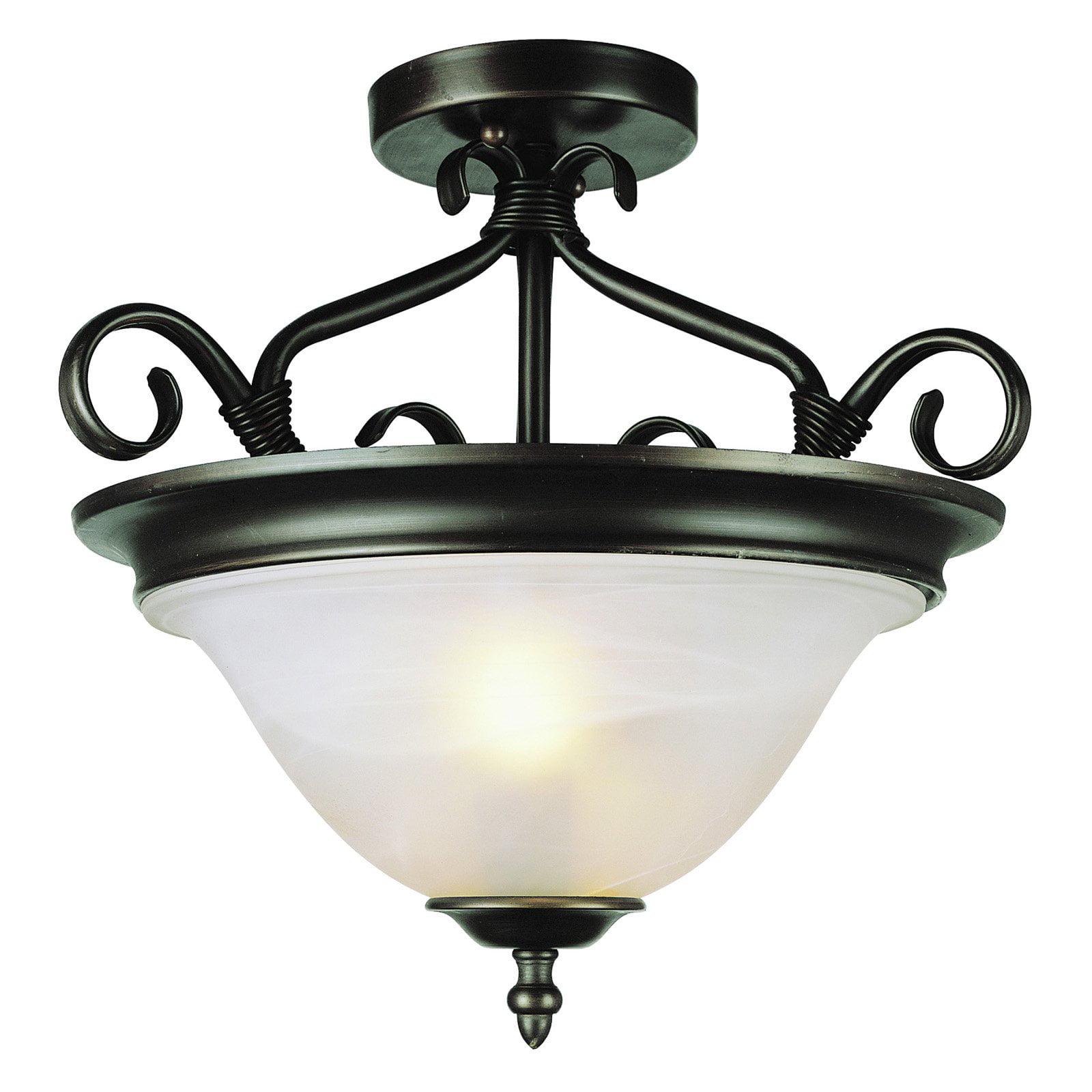 Trans Globe Lighting 6390 ROB New Century 2 Light Rubbed Oil Bronze Ceiling Mount
