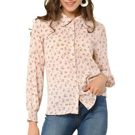 Allegra K Junior's Relax Long Sleeve Button Up Floral Shirts