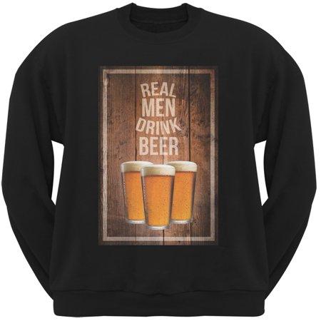St. Patricks Day - Real Men Drink Beer Black Adult Sweatshirt