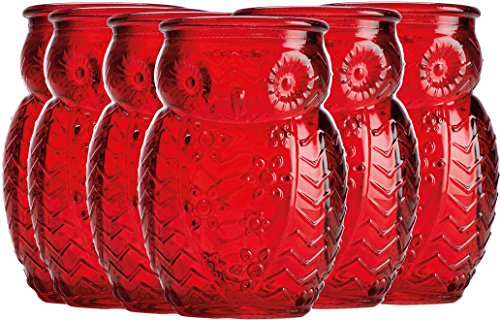 Palais Glassware 'Chouette' Colored Shot glass Set of 6 Owl Shot Glasses (Red) by Palais Glassware