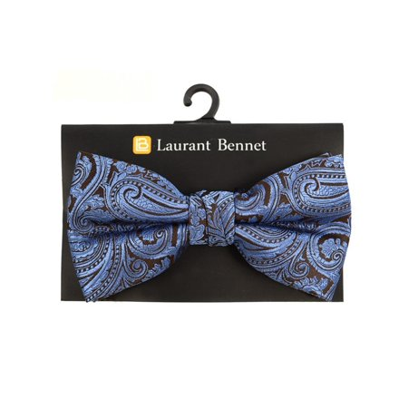 Men's Blue Paisley 100% Microfiber Poly Woven Wedding Banded Bow Tie