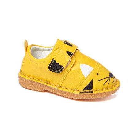 Yellow Boys Strap (Little Girls Boys Yellow Black Cat Face Motif Strap Sneakers 5-10 Toddler )