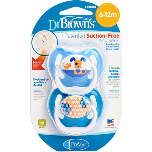 Dr. Brown's PreVent Orthodontic Pacifiers, 2 count (Design May Vary) BPA-Free by Dr. Brown%27s