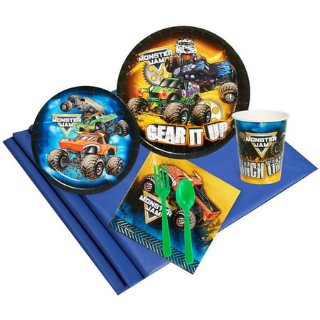 Monster Jam 16-Guest Party Pack (Monster Jam Birthday Party Supplies)