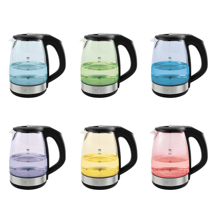 3311001 1.7 Liter Quart Capacity Salton Cordless Electric Glass Variable Temperature Kettle