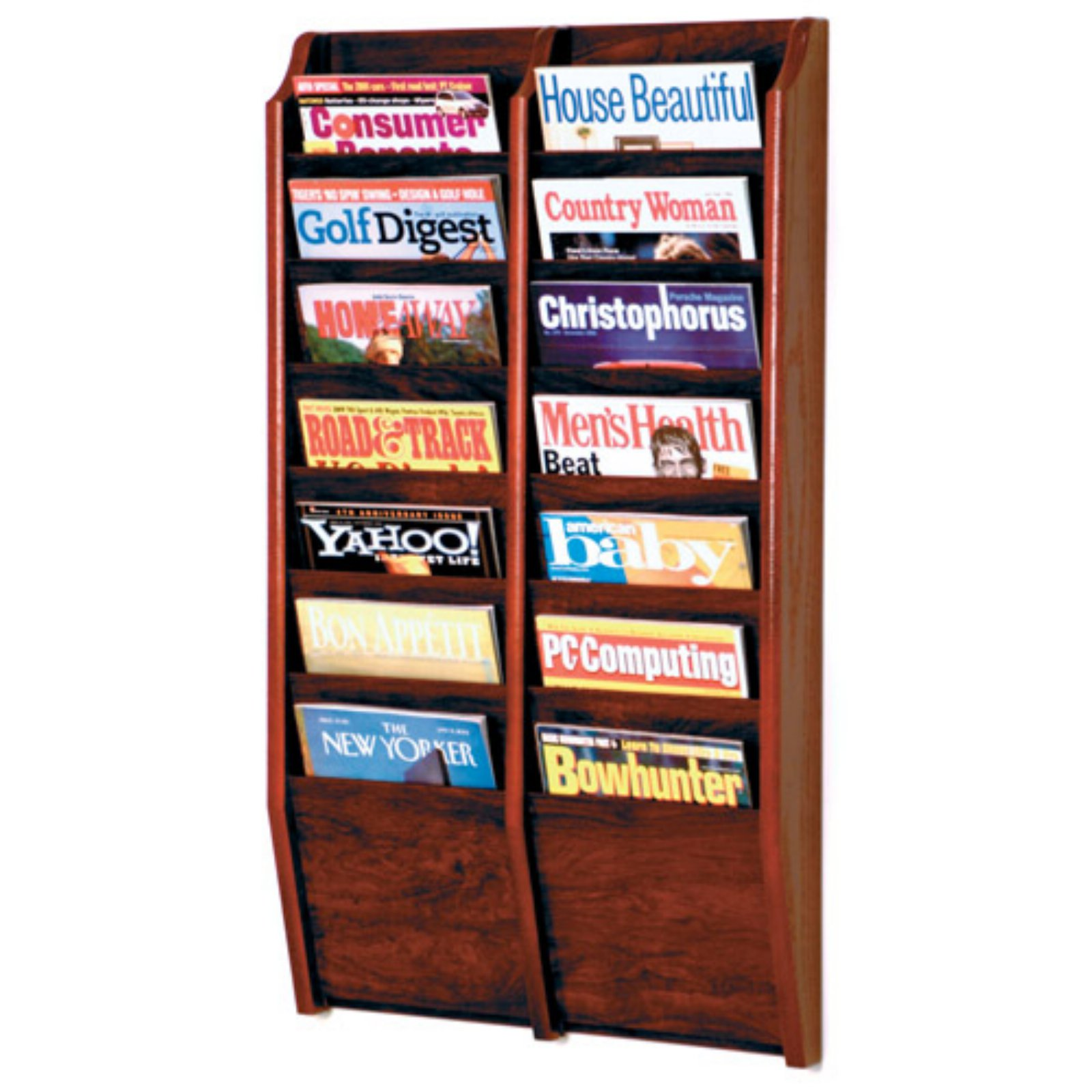 Wooden Mallet 14-Pocket Wall Magazine Rack