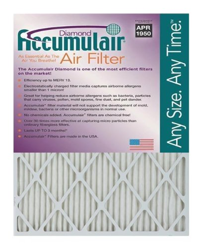 Diamond 22.25x25x1 (Actual Size) MERV 13 Air Filter/Furnace Filters (2 pack), MERV 13 Rating By Accumulair Ship from US