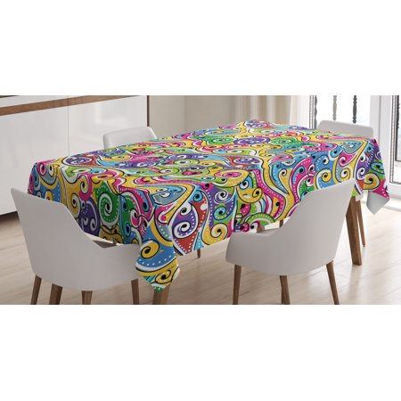 Wave Tablecloth, Funky Colored Curves with Spiraling Ends Doodle Style Lively Summertime Inspired Art, Rectangular Table Cover for Dining Room Kitchen, 52 X 70 Inches, Multicolor, by Ambesonne ()