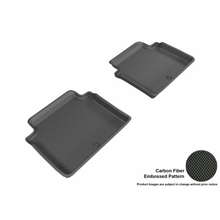 3D MAXpider 2017-2017 Genesis G80 Second Row All Weather Floor Mats in Black with Carbon Fiber Look