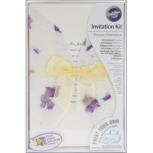Wilton Print-Your-Own Invitations Kit Pressed Floral, Lavender, 50 ct. 1008-173