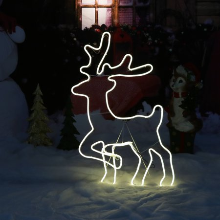 Sunnydaze Decor Outdoor Christmas Light Display Deer Silhouette, Holiday Decoration for Yard & Lawn, Warm White, 32-Inch - Christmas Outdoor Decor