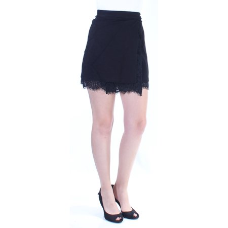 FRENCH CONNECTION Womens Black Fringed Lace Mini Faux Wrap Skirt  Size: 4