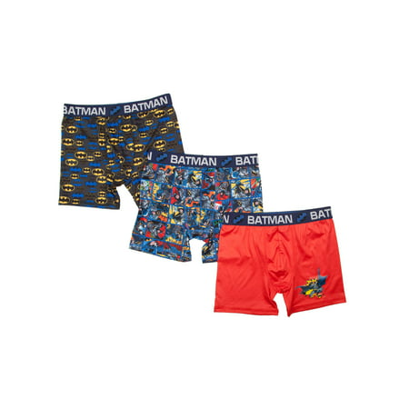 Batman For Kids (DC Comics Boy's Batman Poly Boxer Briefs, 3 Pack (Little Boys and Big)