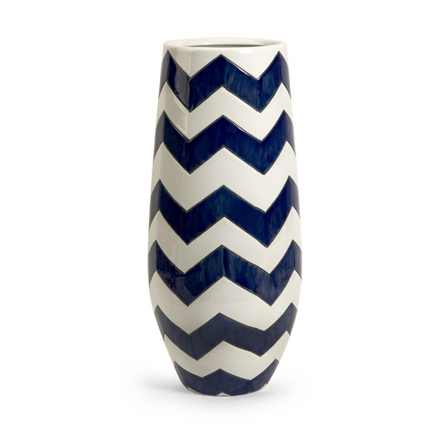 "19.75"" Classic Jibe Navy Blue and White Patterned Tall Ceramic Table Top Vase"