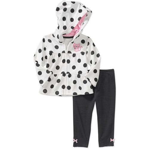 Child of Mine Carters Newborn Girls' 2-Piece Dot Hoodie and Pant Set