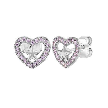 925 Sterling Silver Pink CZ Open Heart Star Stud Earrings for Girls or Teens