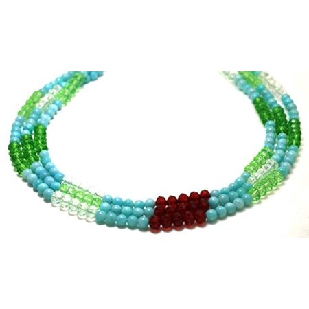 Amazonite Long Necklace (Gemstones Necklaces 3 Strands Amazonite Beads with Crystal Beaded Necklace 17