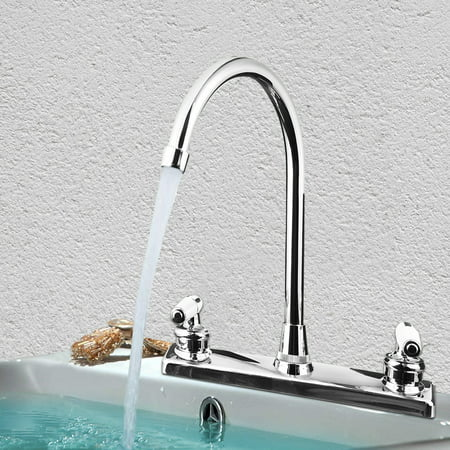 Double Holes and Handles Kitchen Faucet Hot Cold Basin Sink Mixer Water Tap US