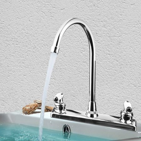 Double Holes and Handles Kitchen Faucet Hot Cold Basin Sink Mixer Water Tap US 3 Hole Basin Two Handle