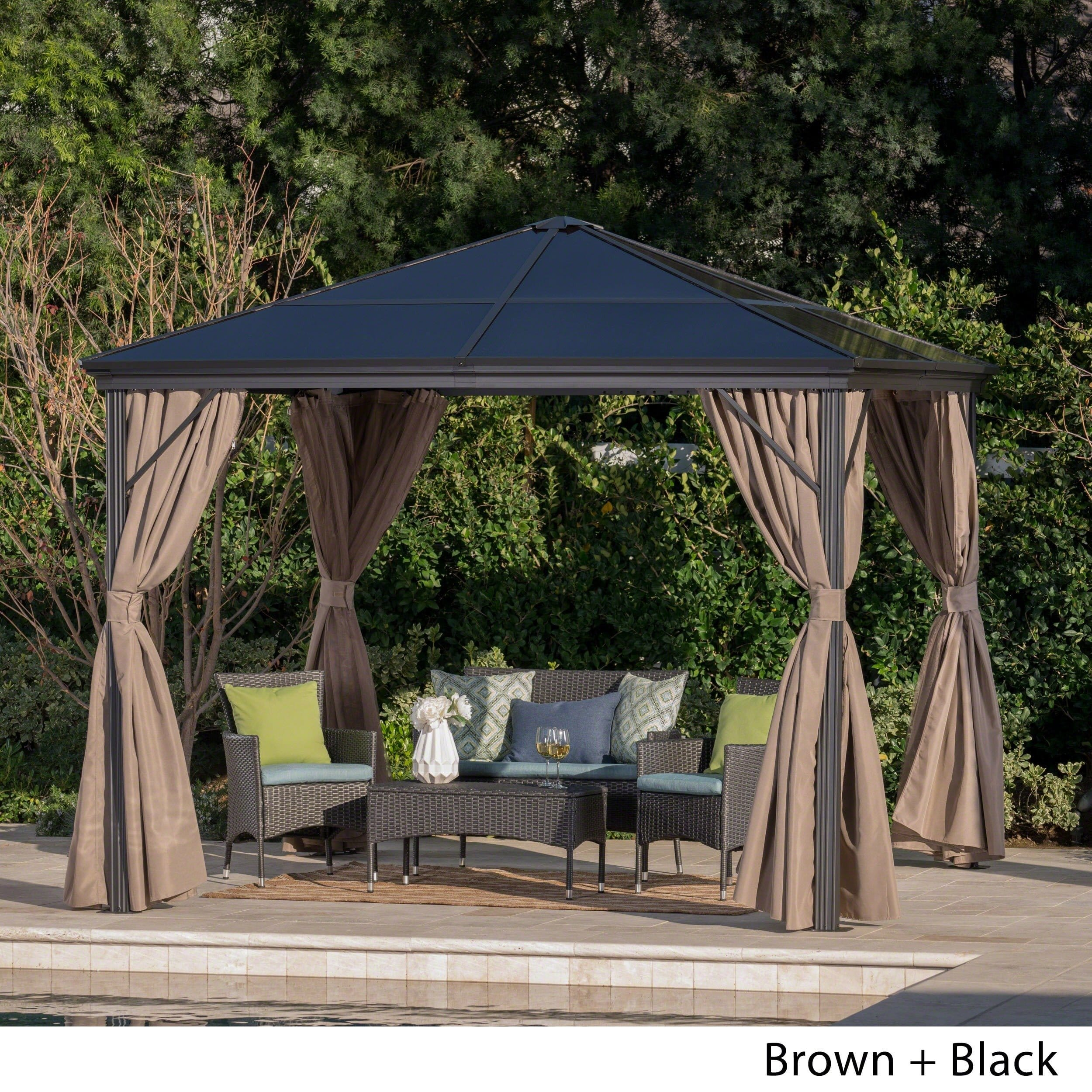 Christopher Knight Home Aruba Outdoor 10 ft. Aluminum Gazebo with Hardtop by  Black, Black Frame/Brown Fabric