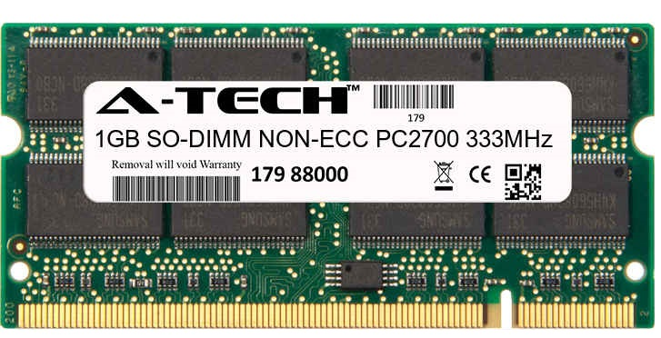 1GB Module PC2700 333MHz NON-ECC DDR SO-DIMM Laptop 200-pin Memory Ram
