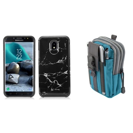 Bemz Accessory Bundle for Samsung Galaxy J7 Refine - Dual Layer Armor Hybrid Case (Black Marble), Tactical Utility MOLLE Pack (Blue/Gray)